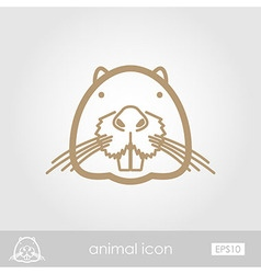 Otter beaver outline icon animal head vector