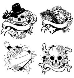 old school tattoo set vector image