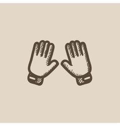 Motorcycle gloves sketch icon vector
