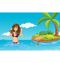 A girl at the sea with an island vector image vector image
