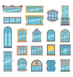 balcony and wooden or plastic windows with glass vector image vector image