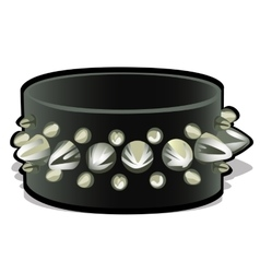 Black leather wristband with metal spikes vector