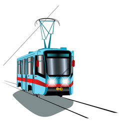 Blue tram with red stripe vector