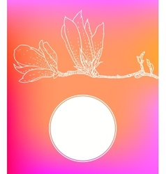 Card with magnolia on pink background vector