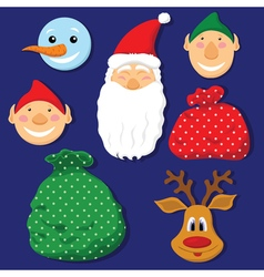 Christmas set with santa clausdeerelvessnowman and vector