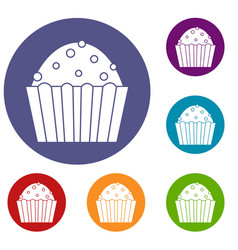Cup cake icons set vector