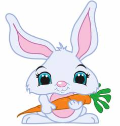 cute bunny with carrot vector image