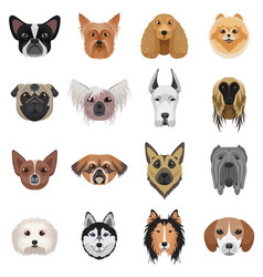 Dog heads logo set emblem vector
