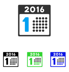 First 2016 day flat icon vector