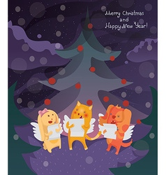 Funny merry christmas card with cat dog and bunny vector