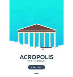 Greece acropolis time to travel travel poster vector