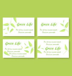 Green tea business card template set vector