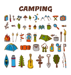 Hand drawn camping icon set in color Collection of vector image