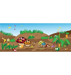 Insects on the ground among the flowers and plants vector image