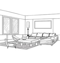 Interior outline sketch living room furniture vector