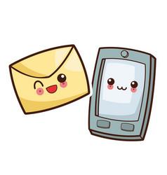 Kawaii smartphone mail envelope image vector