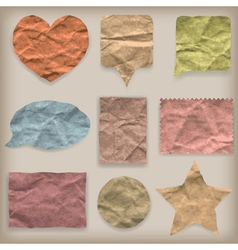 Labels or symbols of colored crumpled paper vector image vector image