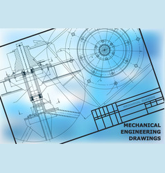 Mechanical engineering drawings background frame vector