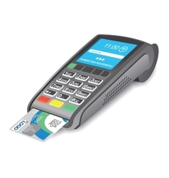 Pos terminal with credit card on white background vector