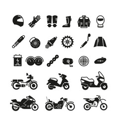 Racing motorcycle motorbike parts and vector