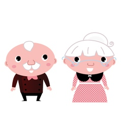 Retro Grandparents isolated on white vector image
