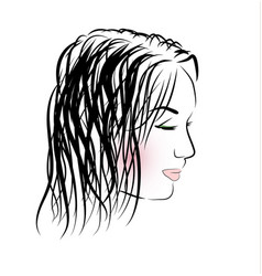 romantic girl with long hair vector image