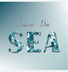 save the sea call on a blue background vector image