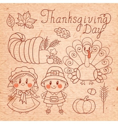 Set of vintage elements for Thanksgiving vector image vector image