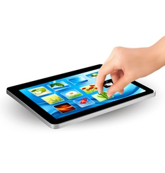 tablet with picture and hand vector image