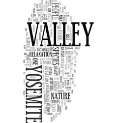 Yosemite village text word cloud concept vector