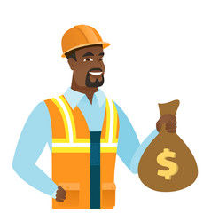 Young african-american builder showing money bag vector