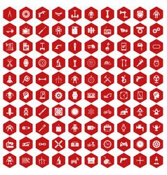 100 gear icons hexagon red vector