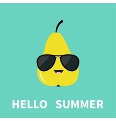 Big yellow pear fruit wearing sunglasses cute vector