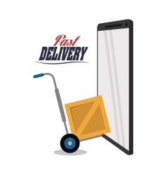 Smartphone cart box package delivery icon vector