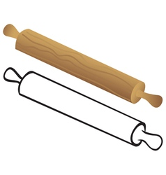 Rolling pin for dough vector
