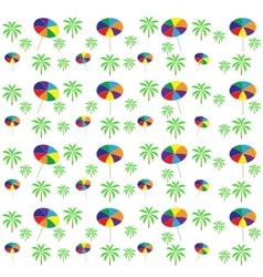 Palm trees umbrellas seamless pattern vector image