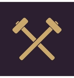 The hammer icon sledgehammer symbol flat vector