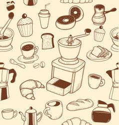 Doodle coffee pattern converted vector