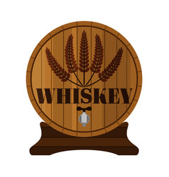 Whiskey barrel premium quality wheat wreath flat vector