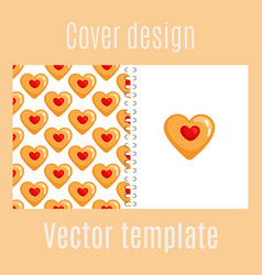 Cover design with cookies hearts pattern vector
