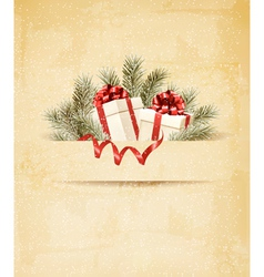 Holiday background with ribbon and red gift boxes vector image