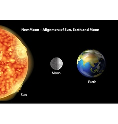 Earth moon and sun alignment vector