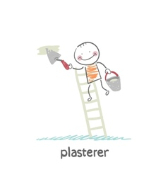 Plasterer on the stairs holding a bucket and vector