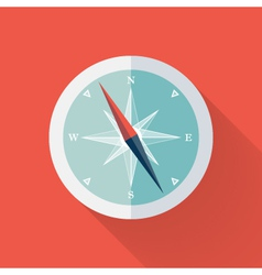White compass flat icon over red vector