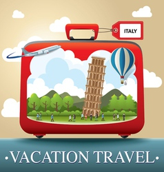 Luggage and travel vacation to italy vector