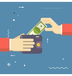 Payment symbol human hands holding banknote and vector