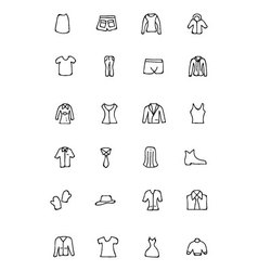Clothes hand drawn doodle icons 4 vector