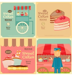 Vendor cakes cart and cupcakes vector