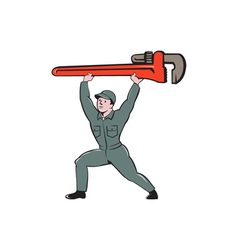 Plumber lifting monkey wrench cartoon vector