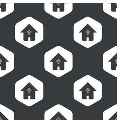 Black hexagon christian house pattern vector